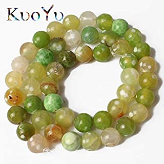 Mercury_Group Beads Light Green Cracked Fire Agates Natural Stone Beads Round Loose Beads for Jewelry Making 15