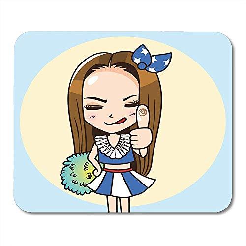 QDAS Mauspads Athletische Brown-Beifall-Zeichentrickfilm-Figur-Frau im Cheerleader-einheitlichen Daumen herauf Führer-Mausunterlage für Notizbücher Mauspads