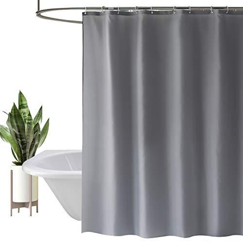HEYOMART Duschvorhang, Wasserabweisend, mit verstärktem Saum, Waschbar Stoff Polyester Badewanne Vorhang, für Duschkabine, Badewannen, Badezimmer-Vorhänge mit 12 Duschvorhängeringen (180x200cm, Grau)