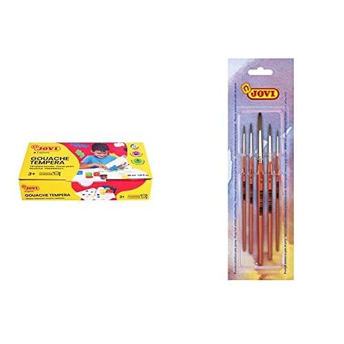 Jovi 724901 Témpera, 7 Unidades, Color Surtido, 35 Ml (296001) + Pinceles Artisticos Pelo Poney, Color Naranja, Unica (8185)