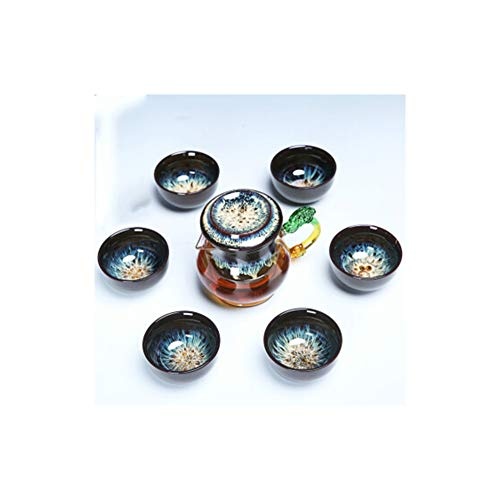 Juego de té chino, set de té de regalo, tetera de cristal, tetera con infusor, taza de té, platillo, juego de té y platillo, juego de tetera, tetera, tetera, tetera, filtro de té