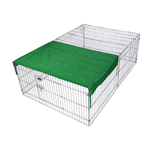 Wiltec Freilaufgehege für Kleintiere, 122 x 95 x 58 cm, Laufstallgitter mit Sonnenschutz
