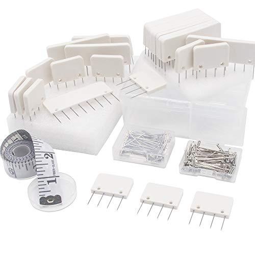LAMXD Kit de pasadores, peines de bloqueo de punto - 25 para bloquear proyectos de tejido, ganchillo, encaje o costura - 100 pasadores en T adicionales - para bloquear tapetes para tapete de t