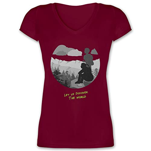 Statement - Backpacker - L - Bordeauxrot - Geschenk - XO1525 - Damen T-Shirt mit V-Ausschnitt