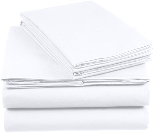 AmazonBasics 'Everyday' Bettwäscheset aus 100% Baumwolle, Weiss 155x220cm & 2 Kissenbezüge 80x80cm