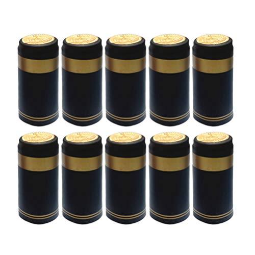 UPKOCH 200 cápsulas de vino retráctil de PVC con mangas Flip frasco de cápsulas película para cavas de vino o casa (dorado), pvc, Bord Doré Noir, 3 * 3 * 6 cm