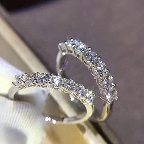 YANGYUE Anillo de Diamantes 925 Joyería de Plata esterlina Anillos de Compromiso de Boda Anillos para Mujeres Accesorio de Fiesta de declaración Nupcial