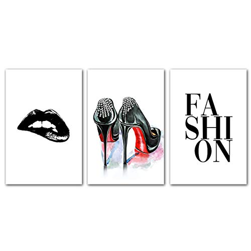 Fashion Heels Lips Wall Art - Modern Room Decor for Teen Girls Women Shoes Makeup Poster Black White Canvas Paintings Home Decoration Living Room Bedroom Picture Set of 3 Unframed Gift Quotes Artwork