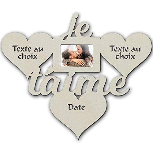 Cadre photo Mural 10x15 Romantique I Love You Avec Lumière Led - Cadeau Unique Pour Les Couples, Mari, Femme, Petit Ami, Petite Amie - Nom Ou Texte Personnalisable.