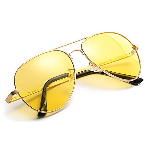 Myiaur HD Gelbe Nachtsichtbrille Autofahren Polarisiert für Damen Herren Pilotenbrille with 100% UVA UVB Schutz Entspiegelten (Gold-1)