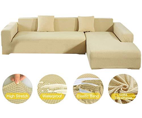 New-wish Sofa Überwürfe Wasserdicht Jacquard Sofabezug Elastische Stretch Spandex Couchbezug Sofahusse Sofa Abdeckung in Verschiedene Größe und Farbe Gelb (71-89 Zoll)
