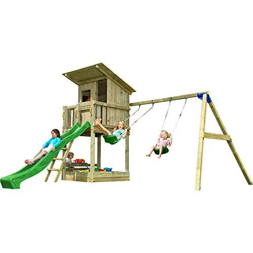 MASGAMES   Box per bambini Torre Beach Hut XL   con altalena doppia   Sedili piatti in plastica e corde   con ancoraggi   Uso domestico