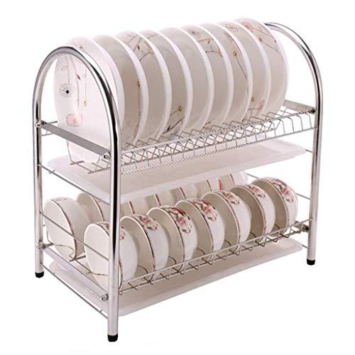 KFDQ Escurridor de platos compacto Estante de acero inoxidable de 2 niveles Bandeja para secadora de cocina Soporte para cubiertos A prueba de óxido con bandeja de goteo