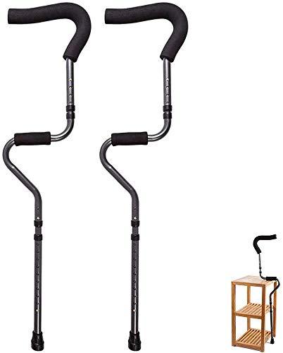 Muletas plegables de muletas muletas, y apoyo antebrazo para ancianos, ayuda a caminar rehabilitación liviana de peso ligero de crujido axilar muleta muleta doble telescópica Baston de senderismo