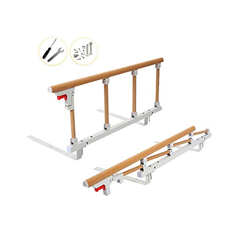 Bed Rails Safety Assist Handle Bed Railing for Elderly & Seniors, Adults, Children Guard Rails Folding Hospital Bedside Grab Bar Bumper Handicap Medical Stand Assistance Devices (Wooden Grain)
