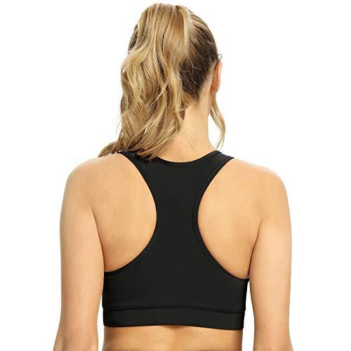 Cevapro Sport BH Damen starker Halt ohne Bügel Vorne Reißverschluss gepolstert Bra für Lauf Fitness Sport Training (Schwarz, M)