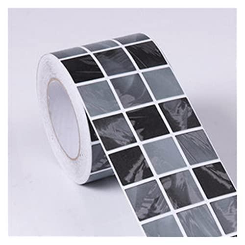 QOXEFPJZ Cenefa Adhesiva Cocina PVC Mosaico Negro Impermeable Etiquetas de Pared Impermeable Aseo Baño Cintura Arte Calcomanía Autoadhesivo Cocina Fondo de Pantalla Decoración de la Frontera
