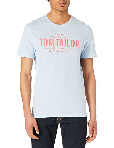 Tom Tailor 1026382 Logo Camiseta, 13302 Light Metal Blue, XXL para Hombre