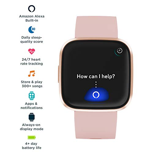 Fitbit Versa 2 Health & Fitness Smartwatch with Voice Control, Sleep Score & Music, One Size, Petal/Copper Rose