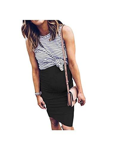 Mama Damen Umstandskleid Fake 2 Piece Schwangerschafts Kleid Knielang ?rmellos Umstands Shirt Top Kleid Maternity Kleid (Schwarz, L)