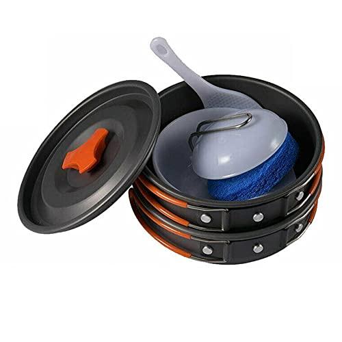 Gojiny 8 Piezas de Utensilios de Cocina de Camping de Aleación de Aluminio Ligero Spot And Pan con 2 Tazones Cuchara de Sopa Cucharón de Arroz Y Esponja de Limpieza para 1- 2 Personas