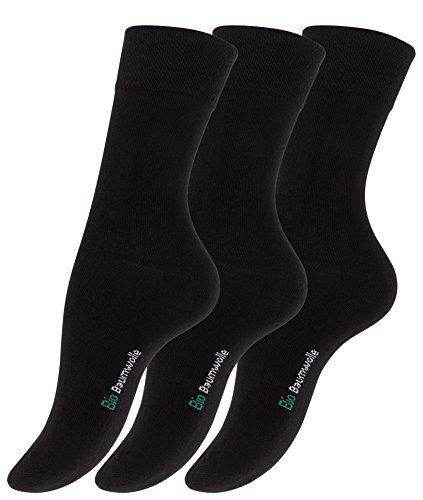 Vincent Creation 6 Paar Schwarze Damen Bio-Baumwoll Socken aus reiner Bio-Baumwolle