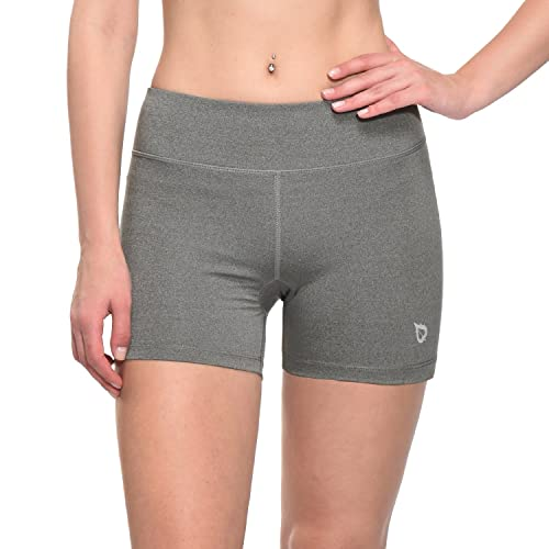 BALEAF Women's 4'' Athletic Workout Shorts Compression Volleyball Training Yoga Gym Fitness Back Pocket Grey Size XL
