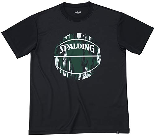 SPALDING(スポルディング) バスケットボール ウェア Tシャツ マーブルボール ブラックxグリーン Lサイズ SMT191200 バスケ バスケット SMT191200 L