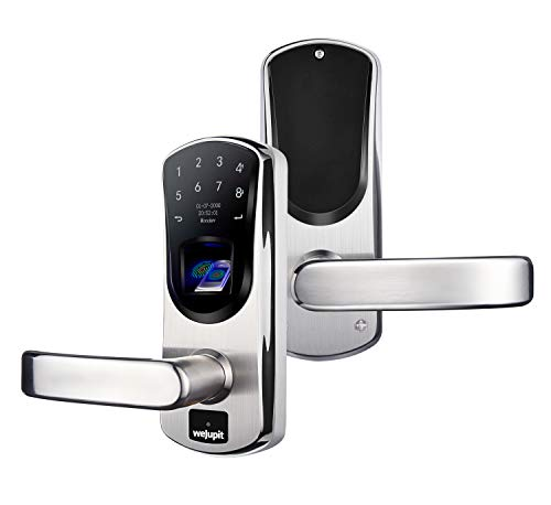 WeJupit V8 Keyless Entry Door Lock with Left Handle, Smart Fingerprint Stainless Steel Touchscreen with Electronic Keypads, Spare Key, Two-Factor Authentication, Digital Biometric Auto-Lock