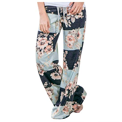 Smonke Damen Mode Sommer Blumendrucke Beiläufig Weite Hose Gamaschen Hoch Tunnelzug Lose Polyester Winter Knöchellange Hosen