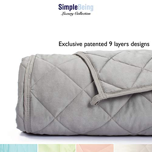 Simple Being Weighted Blanket, 60x80 15lb, Patented 9 Layers Design, Cooling Cotton, Adult Heavy Calming Blanket, Light Grey