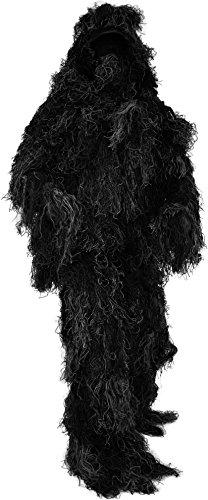 normani Taktischer 'Ghillie Suit' Tarnanzug mit Jacke, Hose, Kopf- und Gewehrabdeckung Farbe Schwarz Größe M/L