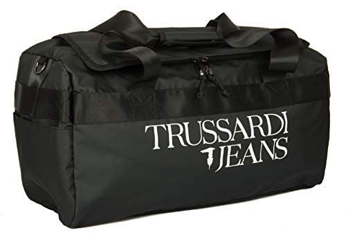 Trussardi Jeans Borsa borsone viaggio tempo libero con manici e tracolla articolo 71B00156 T-TRAVEL 55 LG PVC BAG - cm.55x30x30, K299 Nero - Black, UNICA - ONE SIZE