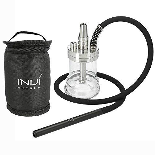INVI® Nano Black Edition Shisha Set Mit Reisetasche - Inklusive Schlauch & Adapter - Shisha Zubehör Mit Dichtungen & Diffusor - 19 cm Höhe (Silber)