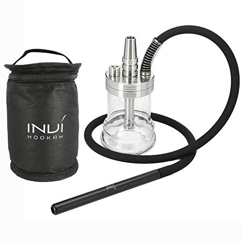 INVI® Nano Reise Shisha Edelstahl Black Edition | Mit Schlauchset und Transport-Tasche (Silber)