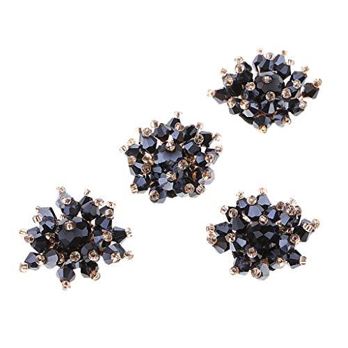 Hellery Adornos de Botones de Flores de Perlas de Diamantes de Cristal de 4 Piezas de 25 Mm - Azul Oscuro, Individual