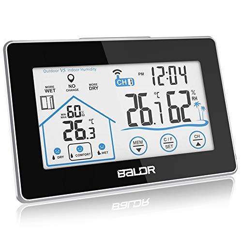 BALDR Wetterstation Funk mit Außensensor, Digital Thermometer Hygrometer Innen und Außen Raumthermometer Hydrometer Feuchtigkeit mit Wettervorhersage, Uhrzeitanzeige (Schwarz-1)