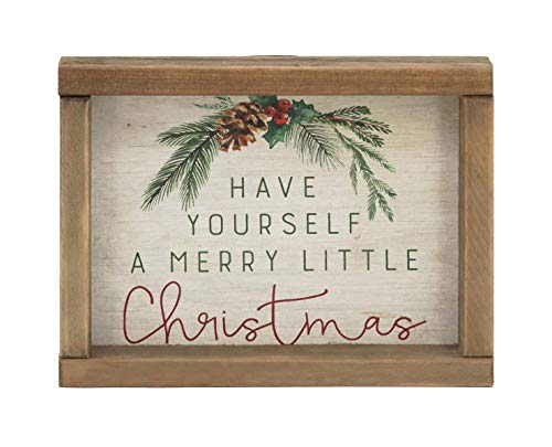 Have Yourself a Merry Little Christmas Mini Wood Tabletop Sign, Retro Christmas Freestanding Decor