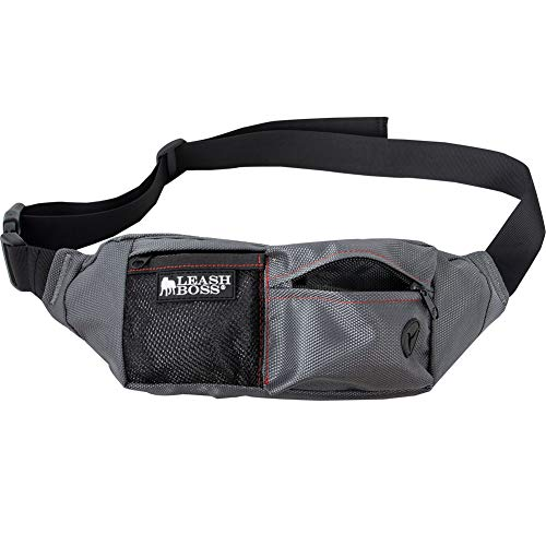 Leashboss PackUp Pouch Dog Treat Training Waist Belt, Storage Fanny Pack, and Waste Bag Dispenser (Grey)