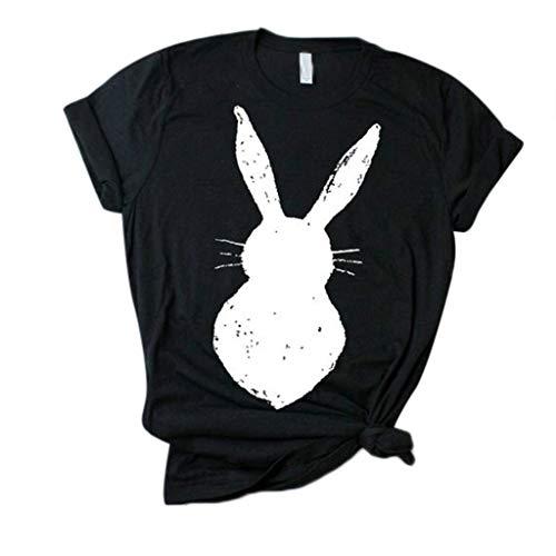Rawdah* T-Shirt en Coton à Manches Courtes en Lapin Décontracté Haut Sauvage Mode Femmes Ample Short-Sleeved Imprimé T-Shirt Décontracté O-Cou Top