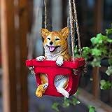 luyiyi Creative Petit Jardin Décoration Animaux, Simulation Swing Lapin/Chat/Chien Statues Sculpture Fancy Home Décor for Patio, Pelouse et Jardins (Color : Dog)