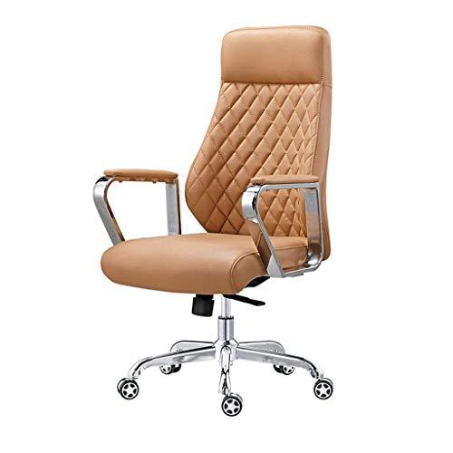FCSFSF Silla giratoria/Silla de Oficina/Silla de Jefe, Material de Cuero Suave para la Piel, Respaldo ergonómico, Adecuado para Oficina, Estudio (marrón)
