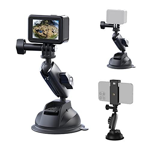 TELESIN Action-Kamera-Saugnapfhalterung kompatibel mit GoPro Hero 10 9/8/MAX, DJI OSMO Action, OSMO Pocket, Insta360 ONE X2, ONE R, ONE X Phone Saugnapf Halterung For windscreens and windows