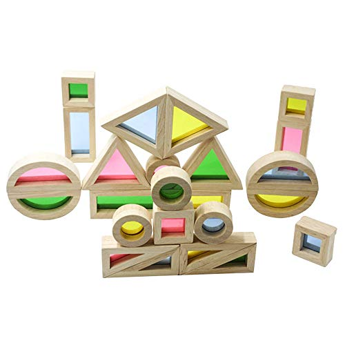 Wooden Building Blocks for Toddlers Baby Kids 24 Pcs Geometry Sensory Wood Rainbow Stacking Blocks Construction Toys Set Colorful Preschool Learning Educational Toys for Boys Girls (multicoloured)