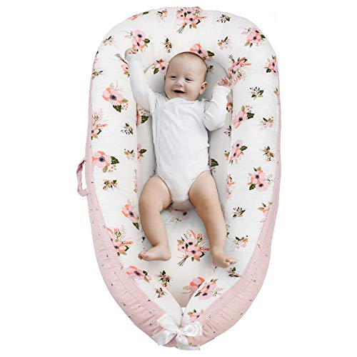Baby Lounger & Baby Nest, Portable Newborn Lounger for Baby Bassinet, Reversible Infant Lounger Bed, Durable and Machine Washable, Adjustable Bed for Babies Aged 0-12 Months (Pink Blossom)