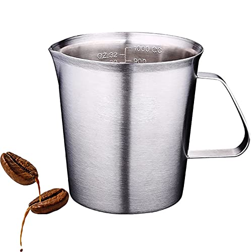 Olanda 304 tjock rostfritt stål måttkopp, mjölkbehållare, tjockt rostfritt stål graderad bakning flytande mjölk kopp kaffekanna mjölkkanna mjölkkanna hög kapacitet matlagningsverktyg (1 000 ml)