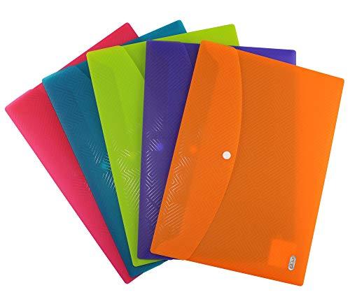 ELBA Urban Brieftaschen A4, aus Kunststoff, mit Druckknopf, transparent, farbig sortiert, 5er Pack