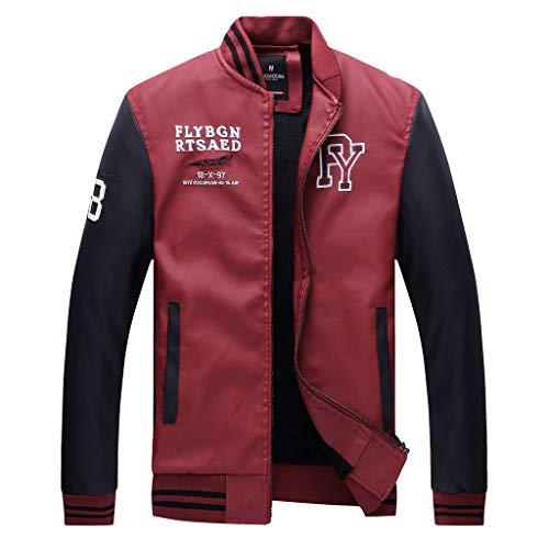BaZhaHei Uomo Top,Uomo/Signori/Ragazzi PU Pelle College Baseball Jacket Felpa Motociclista Giacca Giubbotto Manica Lunga Jacket Top (Red 1, M)