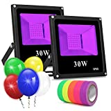 Black Light for Parties, 2 Pack 30W Led Flood Light Blacklight Bulbs for Fluorescent Neon Glow in The Dark Party Supplies Christmas Decoration, Blacklight Party Birthday Wedding Stage Lighting