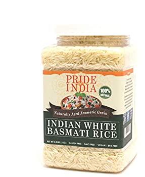 Pride Of India - Extra Long Indian Basmati Rice Naturally Aged Aromatic Grain 3.3 Pound  1.5 Kilo  Jar  2.2 Pound + 50% Extra Free = 3.3 Pounds Total